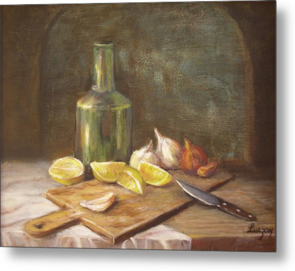 Metal Print featuring the painting The Cutting Board by Katalin Luczay