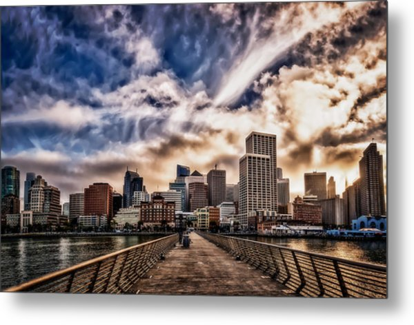 Metal Print featuring the photograph The Embarcadero On The Waterfront At Sunset by John Maffei
