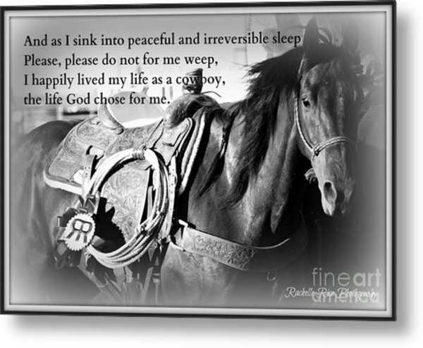 The Empty Saddle Metal Print by Rachelle Rice