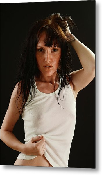 The Girl With Wet Hair Metal Print by T Monticello