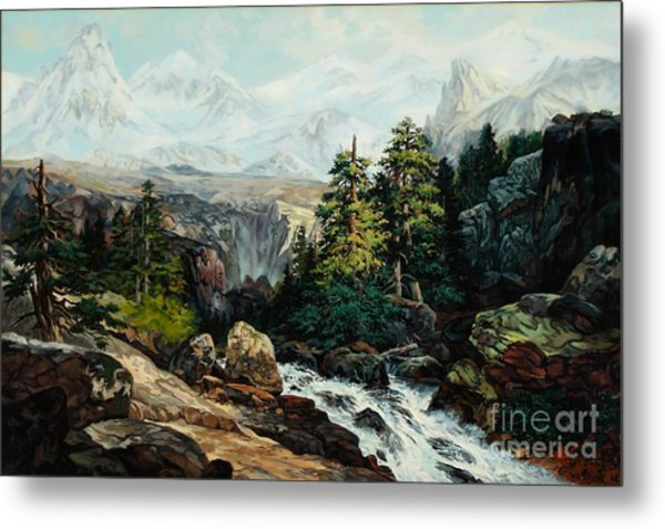 The Grand Tetons By Thomas Moran Study By W Scott Fenton Metal Print by W  Scott Fenton
