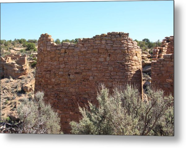 The Hovenweep Twin Towers Metal Print by Cynthia Cox Cottam