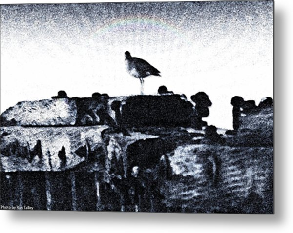 The Jetty Bird Metal Print by Ronald Talley