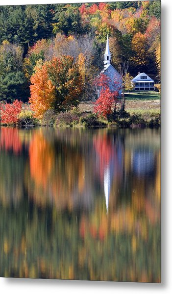 The Little White Church In Autumn Metal Print