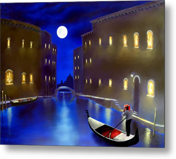 The Magic Nights Of Venice Lights  Metal Print