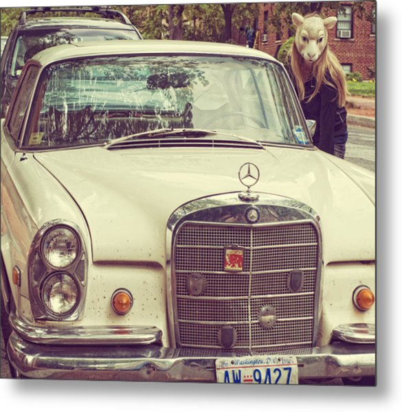 The Mercedes Sheep Metal Print by Laura George