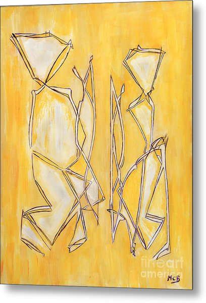 Unique Abstract Art Giclee Canvas Print Original Painting The Couple Decorator Line Art Yellow White Metal Print by Marie Christine Belkadi