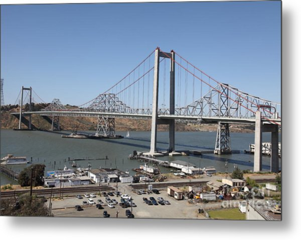 The New Alfred Zampa Memorial Bridge And The Old Carquinez Bridge . 5d16798 Metal Print by Wingsdomain Art and Photography