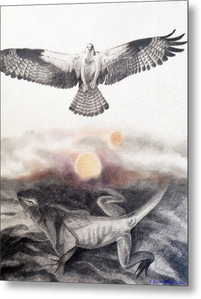The Osprey And The Lizard Metal Print