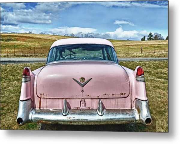 The Pink Cadillac Metal Print by Kathy Jennings