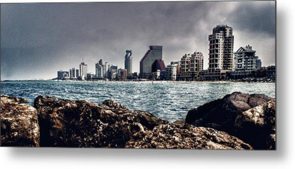 The Rocks_the Sea_the City Metal Print by Amr Miqdadi