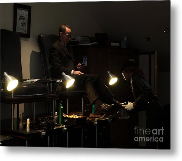 The Shoe Shine Girl - 5d17836 Metal Print by Wingsdomain Art and Photography