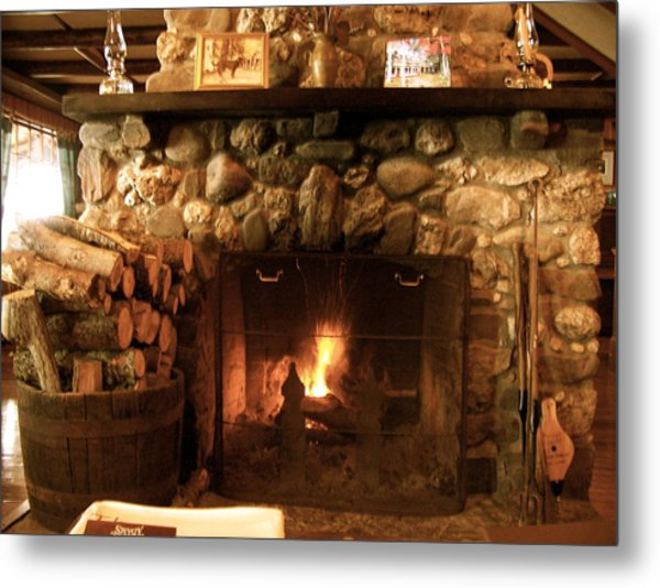 Stone Fireplace Metal Print