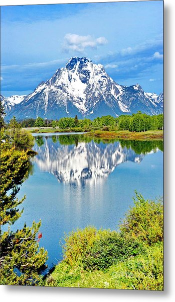 The Tetons From Oxbow Point Metal Print by Richard Brady