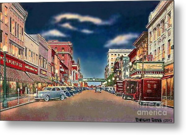 The Theater And Woolworth's In Norristown Pa In 1940 Metal Print