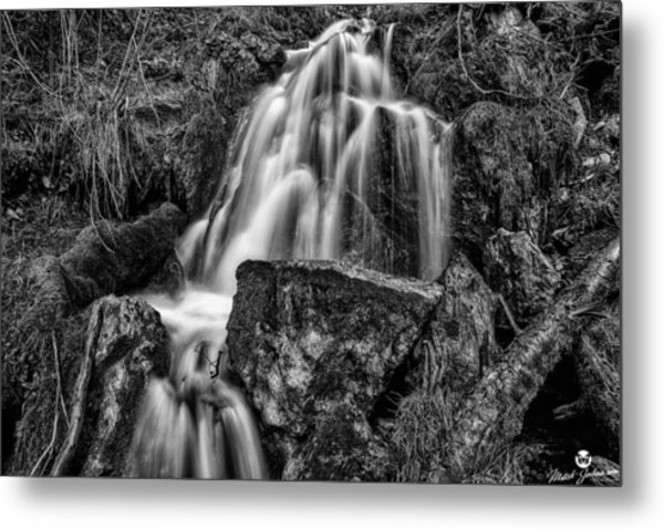 The Upper Butler Fork Falls Bw Metal Print by Mitch Johanson