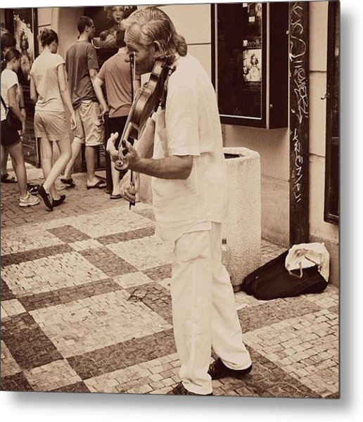 The Violin Player #man #praha #prague Metal Print