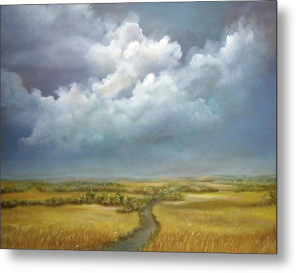Metal Print featuring the painting The Wheat Field by Katalin Luczay