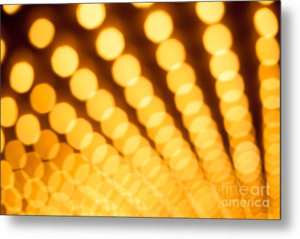 Theater Lights In Rows Defocused Metal Print by Paul Velgos