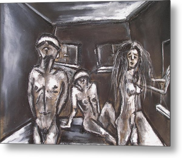 Three Blinded People Unable To Find A Way Out Metal Print