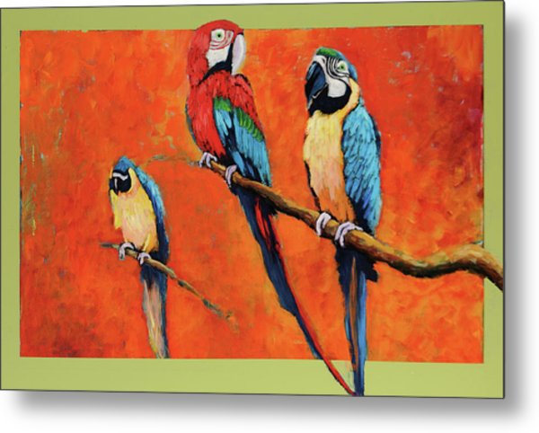 Captive Birds And Abstracted Rain Forest   Metal Print