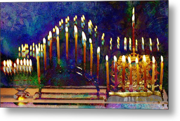 Three Menorahs Metal Print