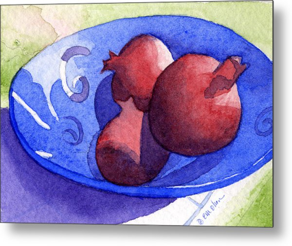 Three Poms In Blue Bowl Metal Print by Eunice Olson