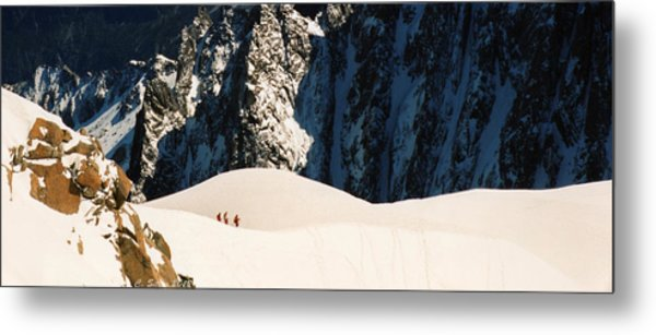 Three Skiers At Chamonix Metal Print