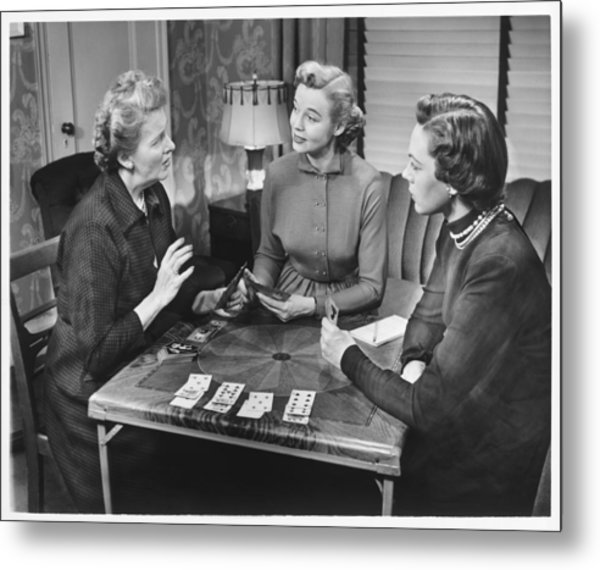 Three Women Playing Cards At Home, (b&w) Metal Print by George Marks