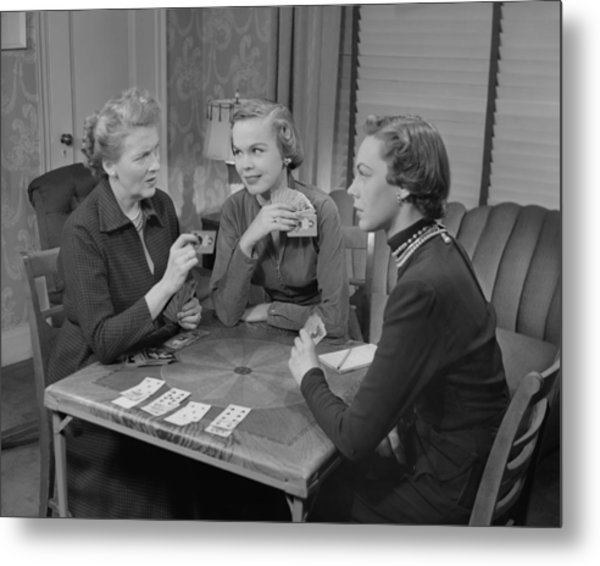 Three Women Playing Cards In Living Room Metal Print by George Marks