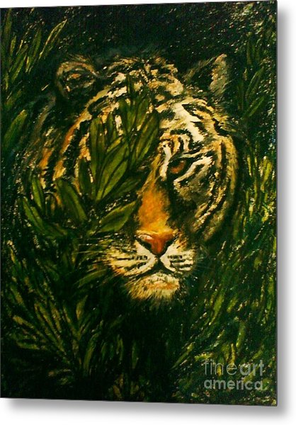 Tiger On The Prowl Metal Print by C Ballal