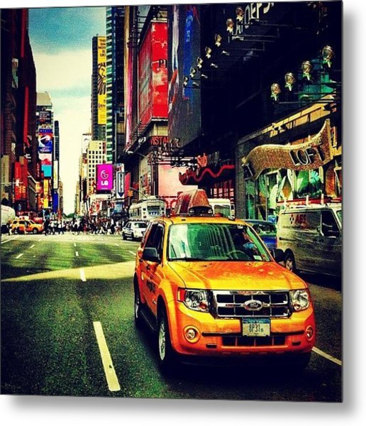 Times Square Taxi Metal Print