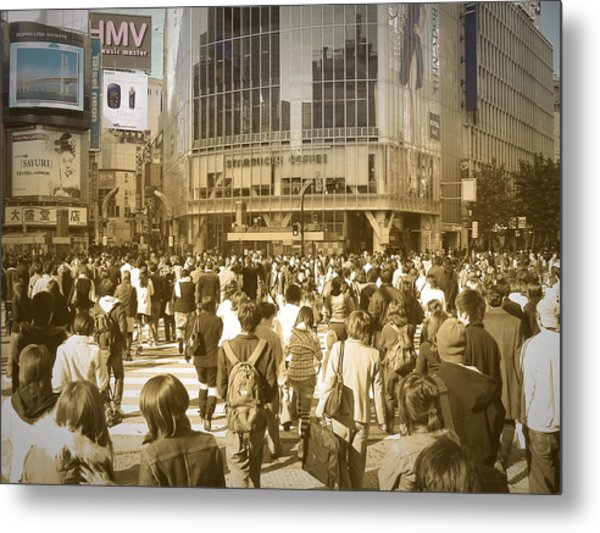 Tokyo Intersection Metal Print by Naxart Studio