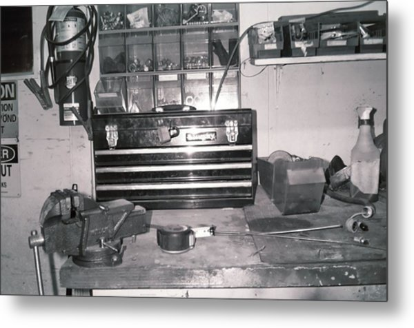 Tool Box And Clamp Work Area Metal Print by Floyd Smith