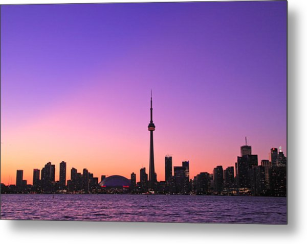 Toronto Purple Skyline Metal Print by Aqnus Febriyant