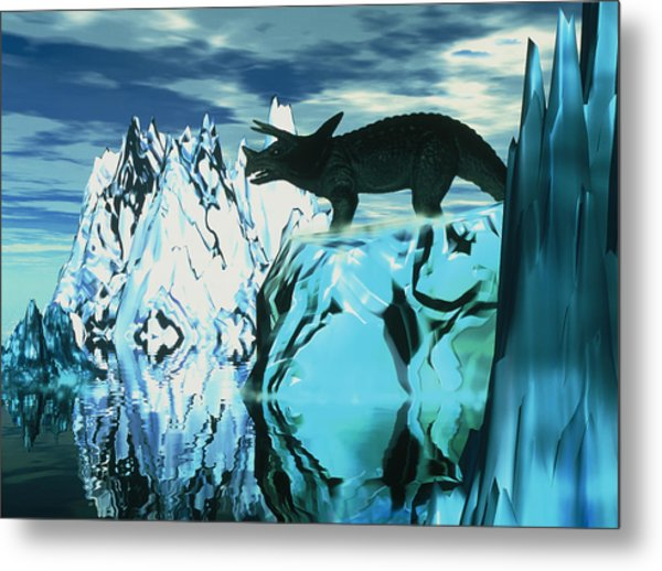 Torosaurus Dinosaur In An Icy Landscape Metal Print by Victor Habbick Visions