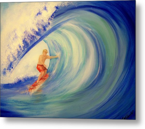 Touching The Wave Metal Print by Lynda McDonald