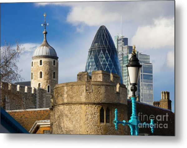 Tower And Gherkin Metal Print by Donald Davis