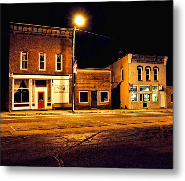Town Street At Night Metal Print