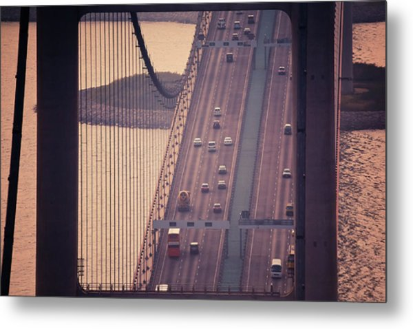 Traffic On Tsing Ma Bridge, Hong Kong, China Metal Print by Yiu Yu Hoi