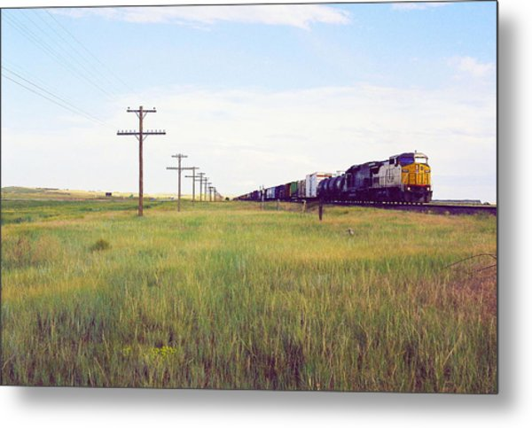 Train And Poles Metal Print by Trent Mallett