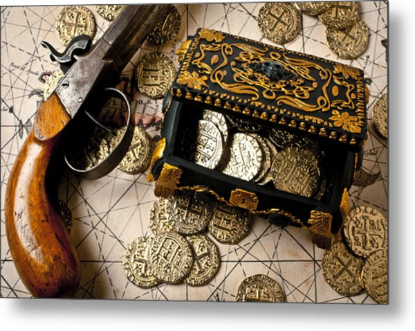 Treasure Box With Old Pistol Metal Print