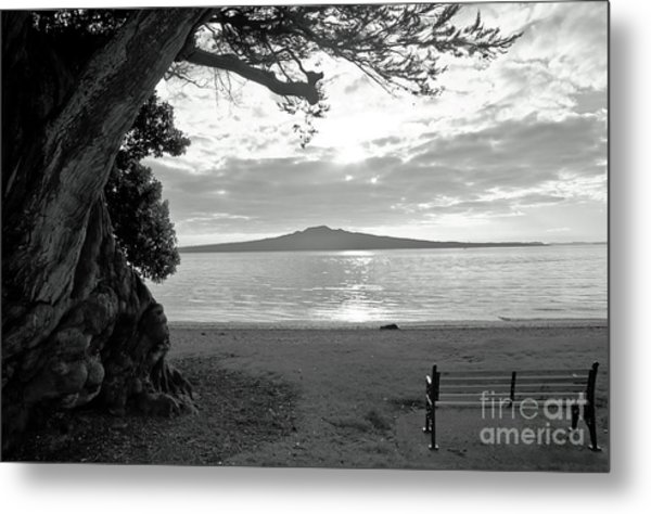 Tree And Ocean And Bench And Volcano Metal Print