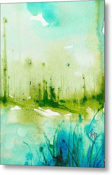 Trees By Water Metal Print