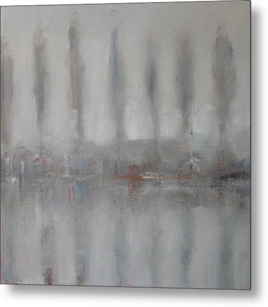 Trees In The Mist By The River Yar Metal Print by Alan Daysh