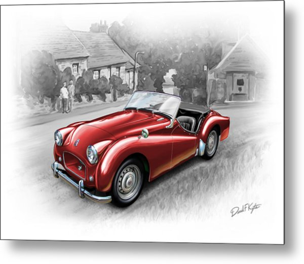 Triumph Tr-2 Sports Car In Red Metal Print