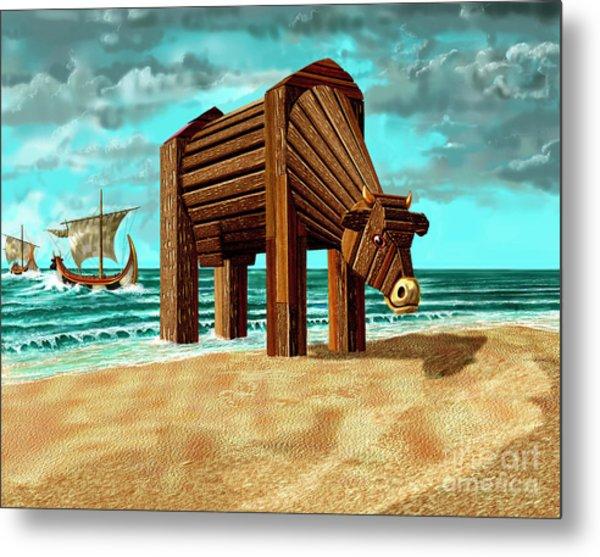 Trojan Cow Metal Print
