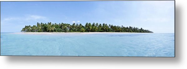 Tropical Island Floating Over Turquoise Water Metal Print