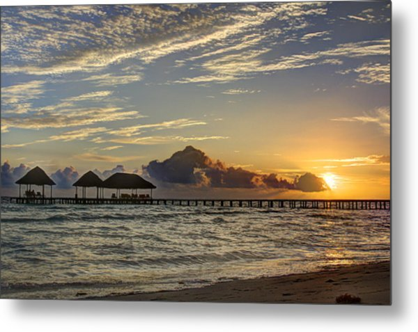 Tropical Ocean Sunset Metal Print