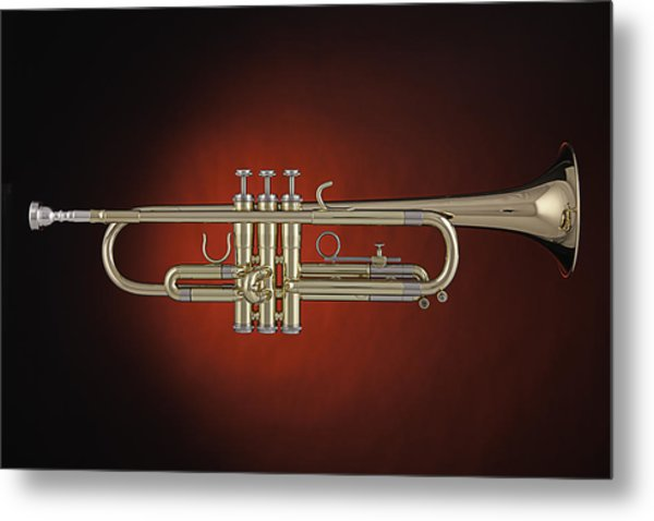 Trumpet Red Spotlight  Metal Print